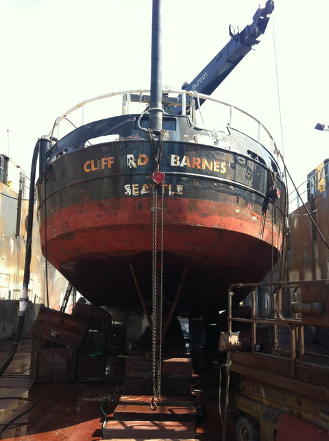 R V Barnes in Dry Dock