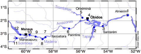 Map of the central Amazon River and its major tributaries